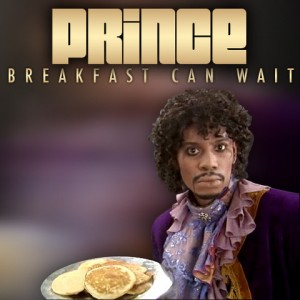 Coveret til Prince-singlen 'Breakfast Can Wait' med Dave Chapelle som motiv.