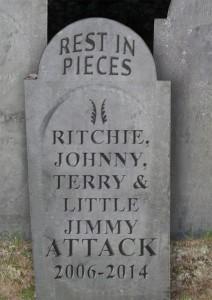 Rest in pieces ... Foto fra Crunchy Frogs hjemmeside før farvelkoncerterne.