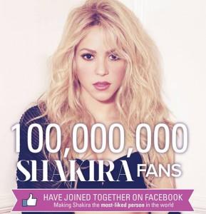 Shakira - den mest populære musiker på Facebook.